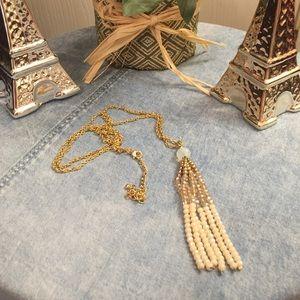 Gold & Cream  Long Tassel Necklace 😍😍